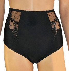 High waist Black Satin Big Knickers with Lace Panels